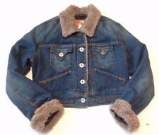 Levi Strauss Womens Denim Jean Jacket Faux Shearling Sherpa Cuff Collar L Large