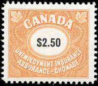 Canada Mint NH 1968 F-VF Scott #FU103 $2.50 Unemployment Insurance Stamp
