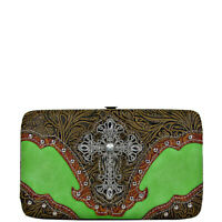 GREEN TOOLED CROSS MONTANA WEST RHINESTONE BLING BIFOLD LOOK FLAT THICK WALLET