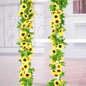 2x Artificial Sunflower Garland Fake Flowers Ivy Silk Leaf Plants Home Decor