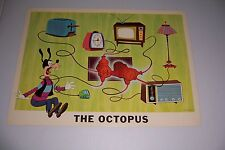 """1964 DISNEY FIRE PREVENTION POSTER THE OCTOPUS 18""""X13"""" #100-F GOOFY"""