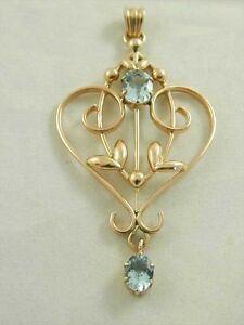Aquamarine pendant 9ct rose gold double drop art deco style date 2005