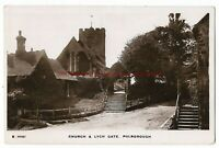 Sussex Pulborough Church & Lych Gate Real Photo Vintage Postcard 29.11