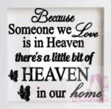 SOMEONE HEAVEN IN OUR HOME VINYL DECAL STICKER FOR IKEA RIBBA BOXFRAME DIY GIFT