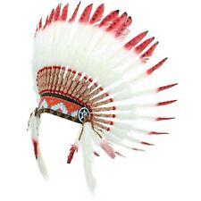 Coiffe d'INDIEN CHEF PLUMES Capot indien d'Amérique GRINGO BLANC ROUGE NOIR