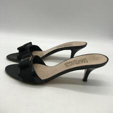 Ferragamo Black Patent Bow Mules Size 8.5