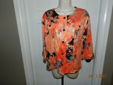 Southern Lady Womens Dressy-Career Jacket Blazer-8 Orange Black NICE 3/4 sleeved