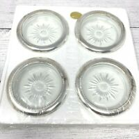 Vintage Leonard Italy 4 Genuine Crystal & Silver Plate Coaster Set Starburst NOS