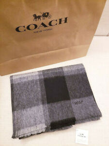 Coach NWT Men's Cashmere Wool Blend Big Plaid Scarf Grey $150