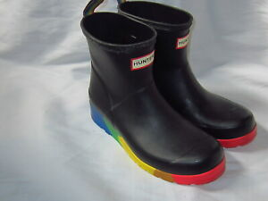 HUNTER Black Wellies w Multicolored Stripes Ankle  Boots  5