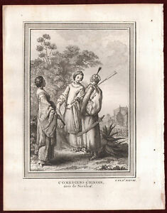 1749 Comediens Chinois Nieuhof Schley Copperplate Engraving China Comedians