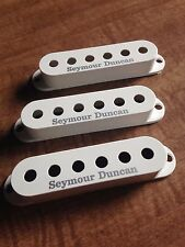 Seymour Duncan Strat Single Coil Pickup Covers Set of 3 White With Logo NEW