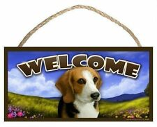 Beagle Spring Season Welcome Dog Sign featuring art of S Rogers
