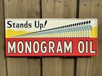 VINTAGE MONOGRAM OIL & GAS EMBOSSED METAL SIGN PORCELAIN USA SOLDIER STAMPED