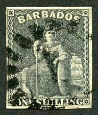 Barbados SG12a 1/- Black 4 margins Cat 70 pounds