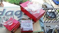 Mikasa LOT Fluted Frosted Tree Embossed Footed Bon Bon Dish Bowls Christmas box