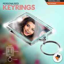 Personalised Photo Keyring With Text Gift Custom Large size 50mmx35mm 2 sided !