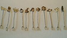 Vintage COCKTAIL FORKS Silver Cowboy Western Cactus Horse Foot Lasso Lot of 11