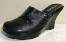 Tommy Girl Women Shoes Size 9 M Mules Clogs Slip On Black Leather Wedge EUC