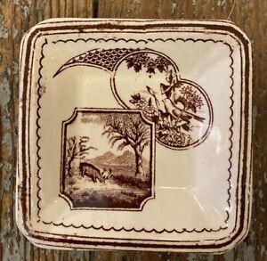 Antique brown transferware Ironstone Butter Pat Aesthetic Period Deer Bird