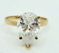Engagement Solitaire Ring 2.5 gr tw Size 5.5 1.5 ct 14k Y Gold Fancy Pear Cz