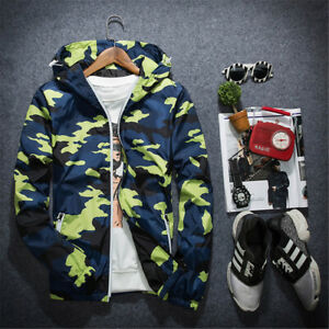 Mens Camouflage Jacket Coat Workout Top Baggy Hoodie Sports Thin Sweatshirt