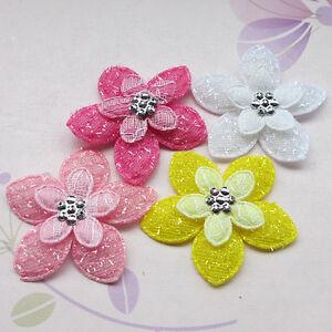 Padded Flower Felt Appliques DIY Crafts Sewing/Wedding Accessories 40pcs