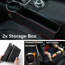 2Pcs Large Capacity PU Leather Car Seat Crevice Gap Filler Storage Box Organizer