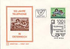 Ersttagsbrief Österreich MiNr. 1672, 100 Jahre Telefon in Österreich