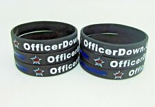 Officer Down US Thin Blue Line Ribbon Silicon Bracelet