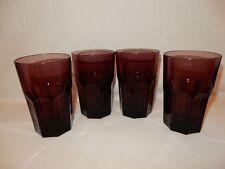 Set of 4 Duratuff Style Amethyst Purple Panel Glass Tumblers Ice Tea 16 oz