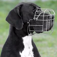 Wire Dog Muzzle Great Dane Metal Basket Leather Adjustable Large