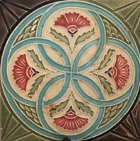 Antique, Majolica, Art Nouveau Tile, Made in Japan