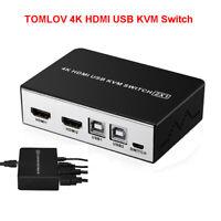 2 IN 1 HDMI KVM Switch Box USB 4K 2 Port Video Monitor Umschalter + Knöpfe