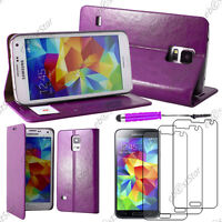 Housse Portefeuille PU Cuir Violet Samsung Galaxy S5/S5 New+Mini Stylet+3 Films