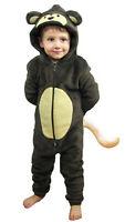 Boys or Girls MONKEY WITH TAIL 0nesie Animal Costume Fleece Kids Age 5 -13