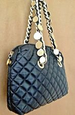 VINTAGE PAOLA BY PDL ITALY BLACK QUILTED LEATHER COIN CHAIN HANDLES HANDBAG