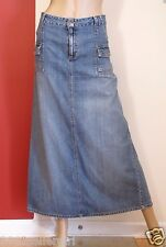 OLD NAVY BLUE JEAN FADED 6 POCKET SLIT LONG MIDCALF DENIM SKIRT SZ 14