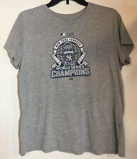 2009 New York Yankees World Series Champions T-Shirt NY Gray XL Cap Sleeves