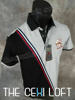 Details about  /Mens VERTICAL Casual Polo Sport T-Shirt Black with Faux Leather Trim