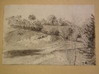 Ecole FRANCAISE XIX DESSIN d'après NATURE PAYSAGE MEREY EURE NORMANDIE 1810 g