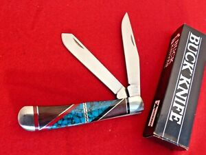 Buck Custom USA David Yellowhorse signed custom hand inlaid trapper knife in box