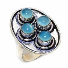 Aqua Chalcedony Gemstone Handmade 925 Sterling Silver Jewelry R-25 Ring Size 6