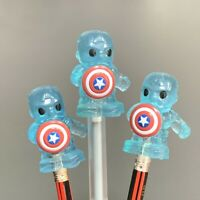 3 Rare ooshies Exclusive Woolworths Disney Plus captain america Pencil Topper