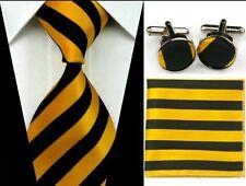 Cravate en soie rayures jaunes et noires NEUVE + boutons de manchette + pochette