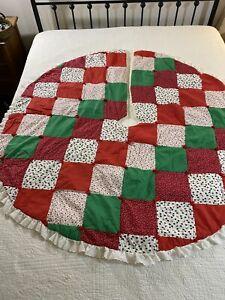 "Vintage Handmade Patchwork Christmas Tree Skirt Quilt 59"" round #326"