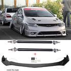 For Honda Civic Coupe Sedan 11-21 Front Bumper Lip Splitter Spoiler + Strut Rods