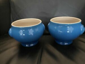 Le Creuset Heritage Lion's Head 20 oz Stoneware Soup Bowl Blue PAIR w TAG !!!