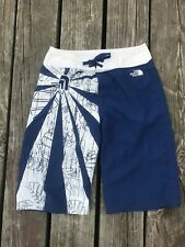 Boys Board Shorts North Face 10 Blue White Logo hook and Loop Tie Closure