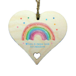 When It Rains Look Rainbows Hanging Wooden Heart Sign Wall Window Plaque Gift